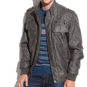 Calvin Klein Faux Leather Bomber Jacket